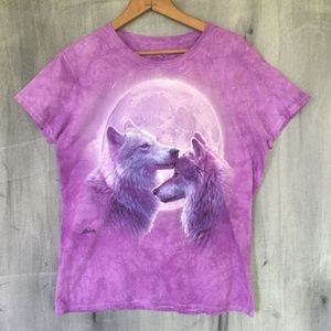 Graphic T-Shirt  Wolves Moon Purple The Mountain L